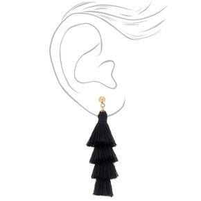 "Tiered Tassel 2.5"" Drop Earrings - Black,"