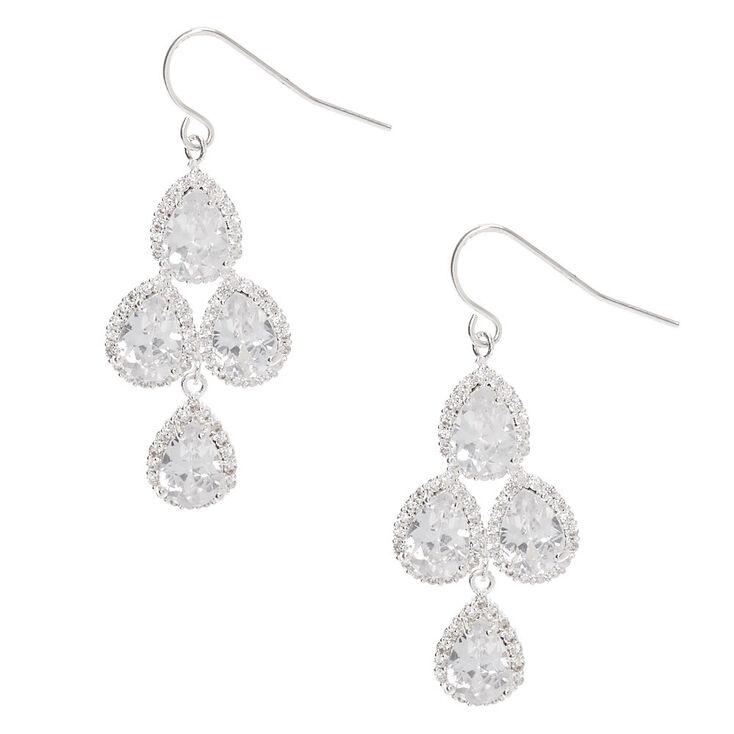"""Silver Cubic Zirconia 1.5"""" Chandelier Drop Earrings,"""