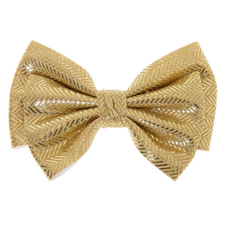 Chevron Glitter Hair Bow Clip - Gold,