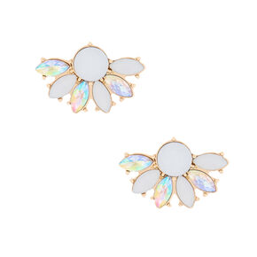 Gold Crystal Fan Stud Earrings - White,