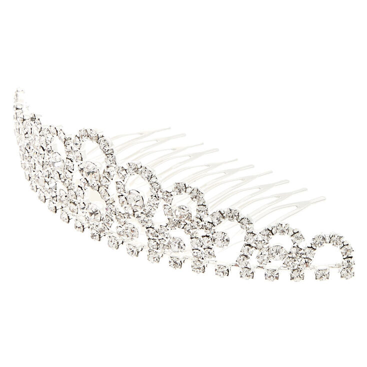 1920s Headband, Headpiece & Hair Accessory Styles Icing Silver-Tone Crystal Mini Tiara $14.99 AT vintagedancer.com