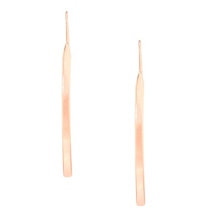 Rose Gold Bar Drop Earrings,