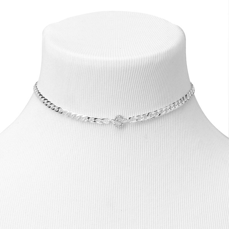 Silver Embellished Initial Chain Choker Necklace - S,
