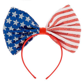 Sequin American Flag Bow Headband,