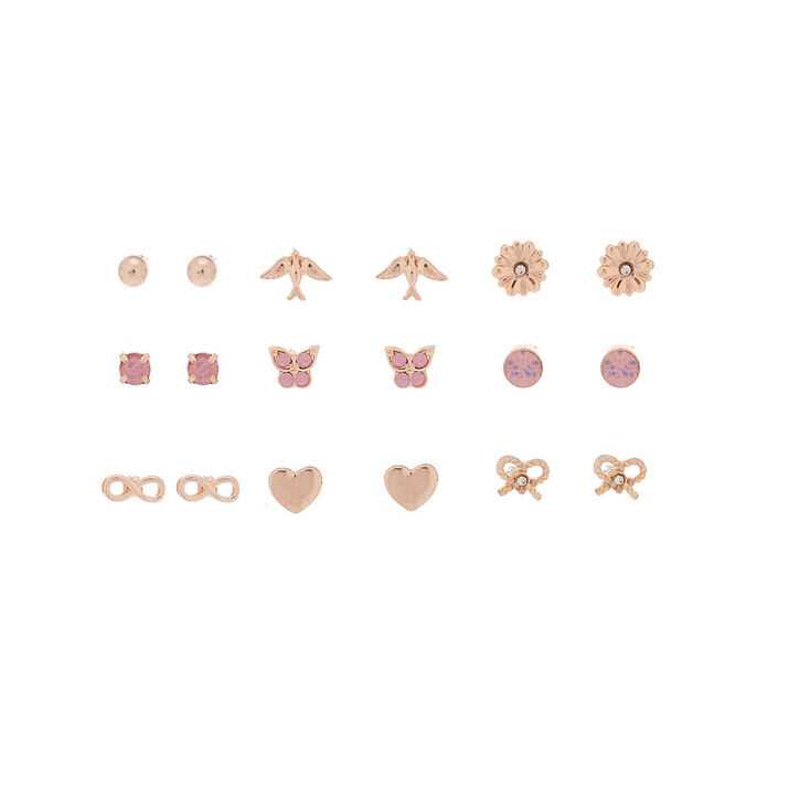 Rose Gold Charm Stud Earrings - 9 Pack,