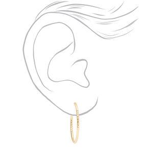 Gold 25MM Textured Hoop Earrings - 3 Pack,