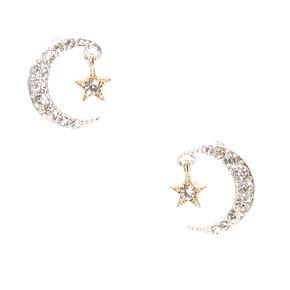 Crystal Studded Moon & Star Stud Earrings,