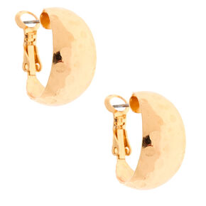 Gold 20MM Hammered Hoop Earrings,