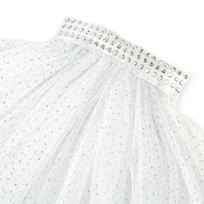 Silver Studded Bride to Be Veil with Glitter - White,