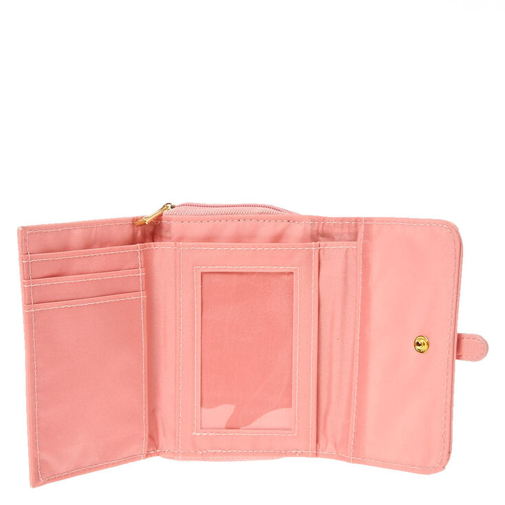 Pink Lace Faux Leather Wallet,