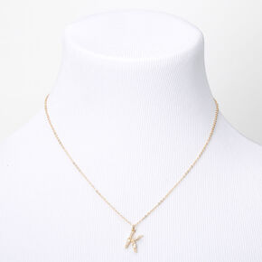 Gold Pearl Initial Pendant Necklace - K,