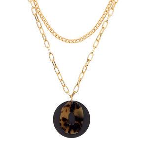 Gold Resin Tortoiseshell Matte Multi Strand Necklace,