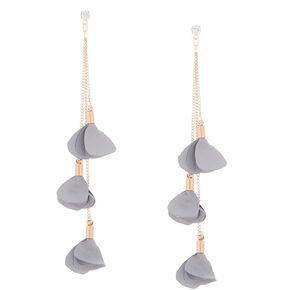 "Rose Gold 4"" Flower Petal Drop Earrings - Gray,"