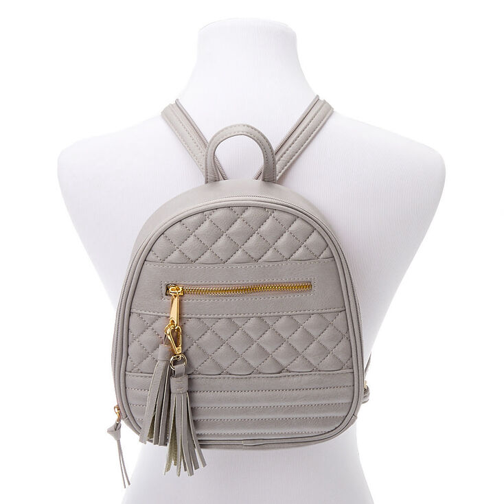 Zippered Strap Quilted Small Backpack - Taupe,