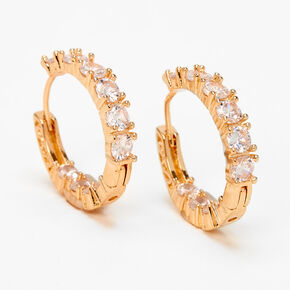 Gold 20MM Cubic Zirconia Stone Hinge Hoop Earrings,