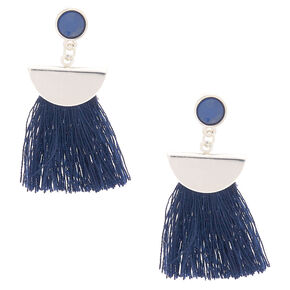 "Silver 1.5"" Tassel Drop Earrings - Navy,"