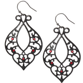 "Black 2"" Filigree Drop Earrings,"
