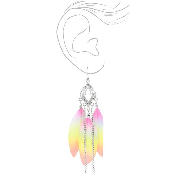 "Silver 4"" Rainbow Feather Filigree Drop Earrings,"