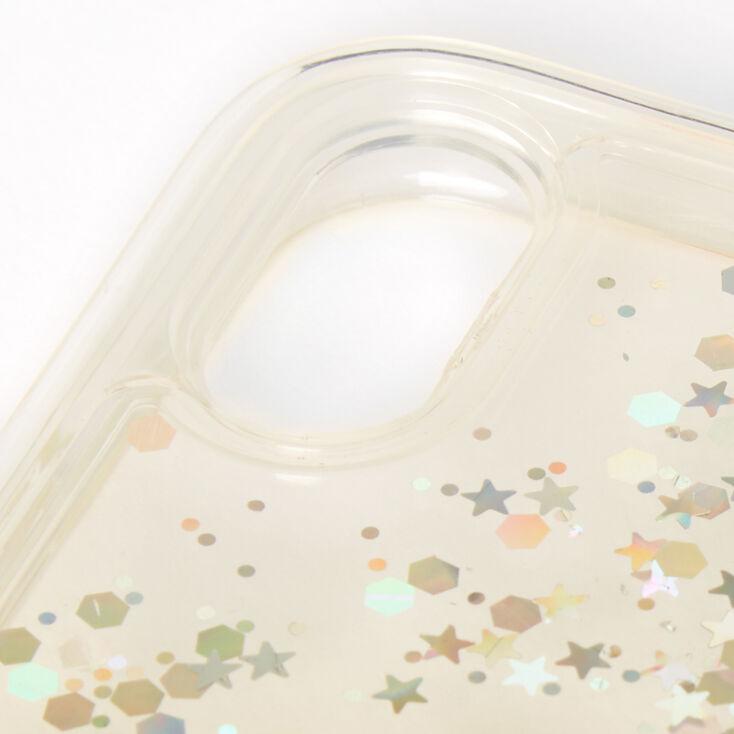 Gold Glitter Star Liquid Fill Phone Case - Fits iPhone XR,
