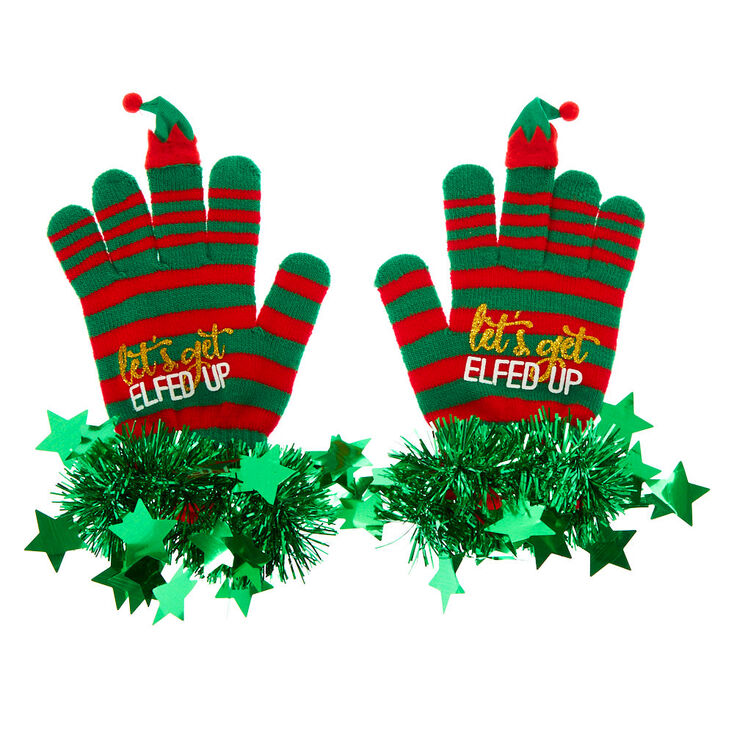 Let's Get Elfed Up Tinsel Gloves - Green,