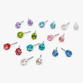 Pastel Rainbow Round Stud Earrings - 9 Pack, 4MM,