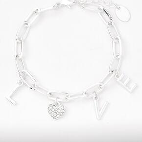 Silver L-O-V-E Charms Chain Link Bracelet,