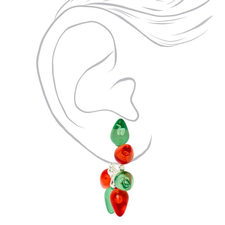 Red & Green Holiday Lights Hoop Earrings,