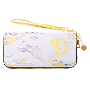 Marble Initial Wristlet - P,