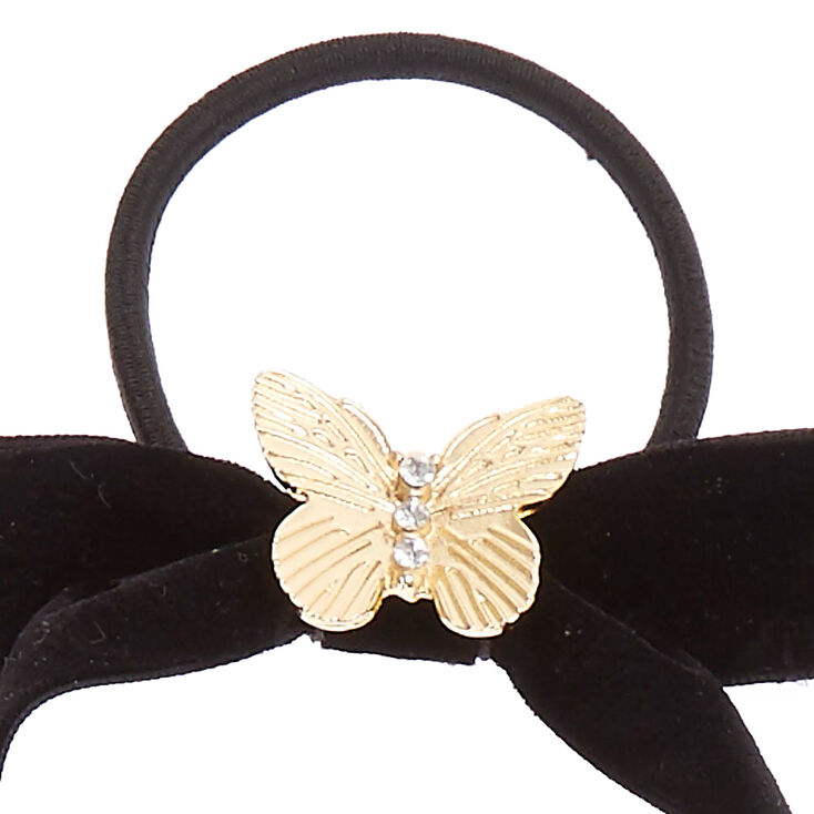 Velvet Bow Hair Tie with Butterfly Charm,