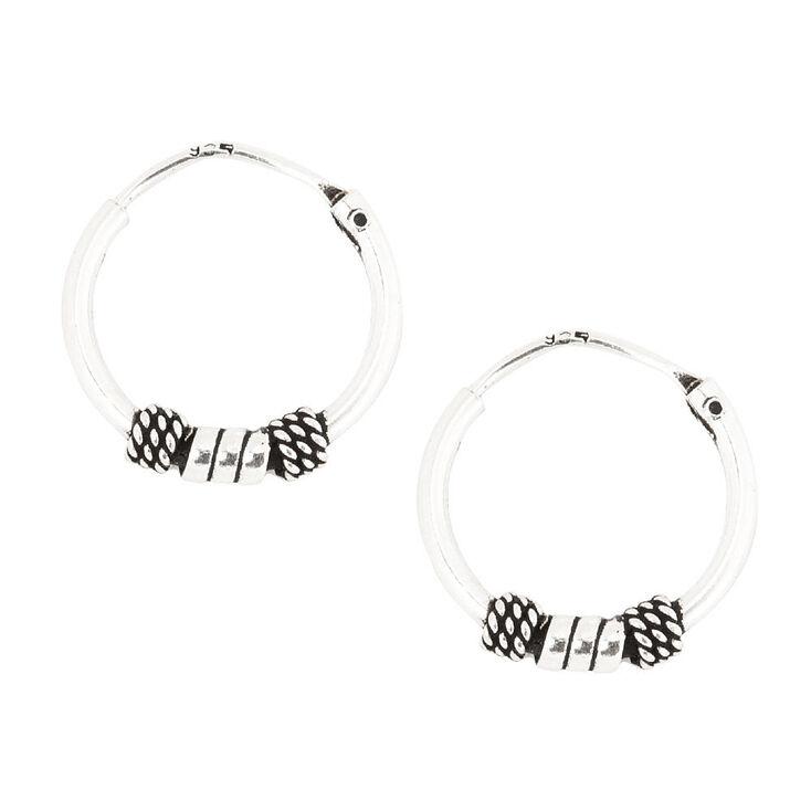 Sterling Silver Small Silver Beaded Hoop Earrings,