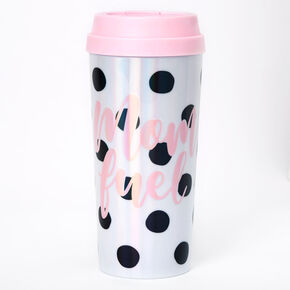 Mom Fuel Polka Dot Travel Mug - White,