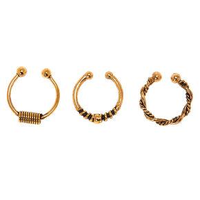 Gold Burnt Bali Faux Hoop Nose Rings - 3 Pack,
