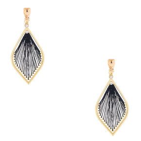 "Gold 2"" Threaded Teardrop Clip On Drop Earrings - Black,"