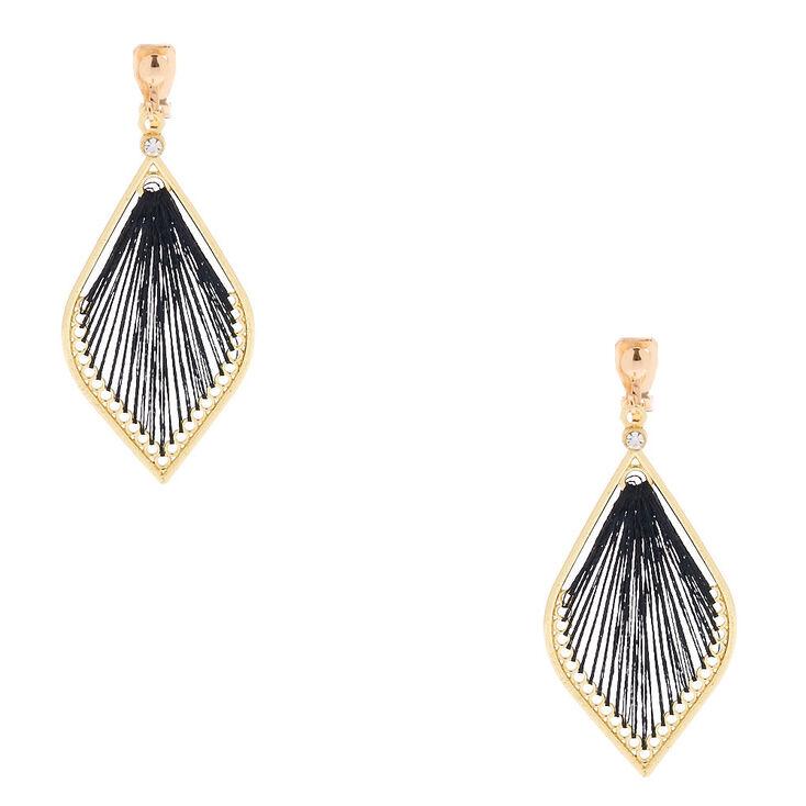 """Gold 2"""" Threaded Teardrop Clip On Drop Earrings - Black,"""