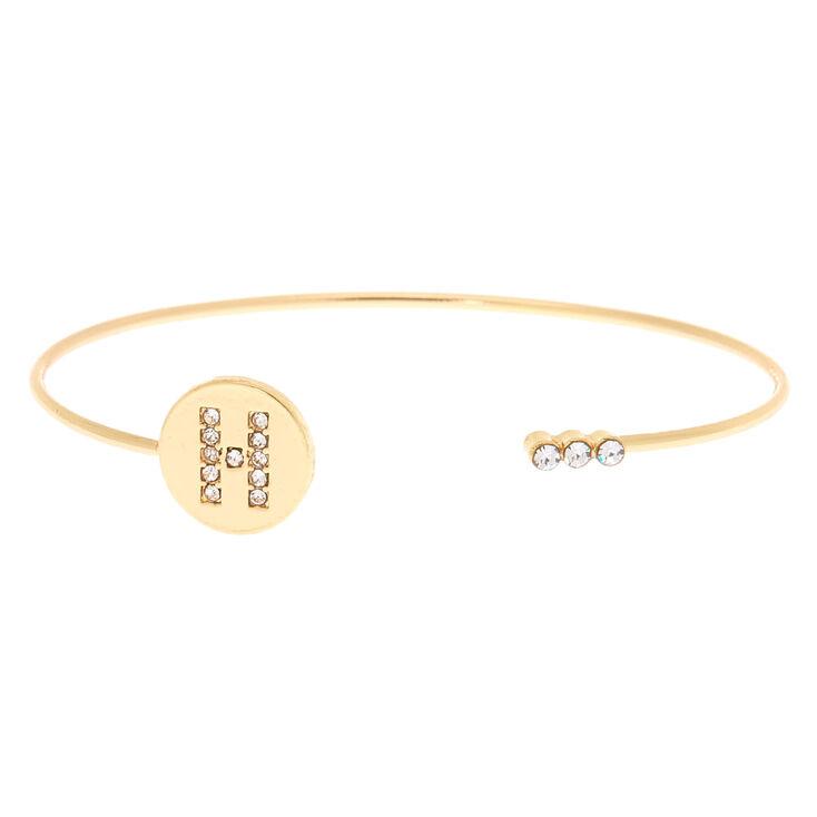 Gold Initial Cuff Bracelet - H,