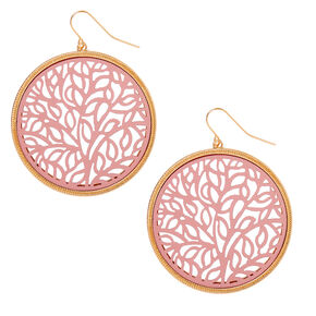 "Gold 2"" Filigree Drop Earrings - Pink,"