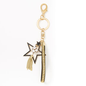 Stars & Tassle Keychain - Black,