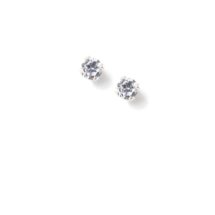 3MM Cubic Zirconia Round Sterling Silver Four Prong Set Stud Earrings,