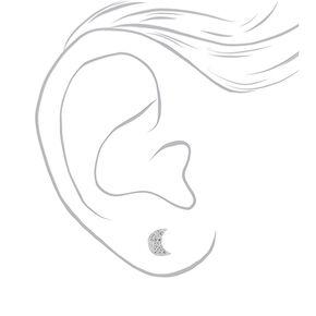 Sterling Silver Crystal Moon Stud Earrings,