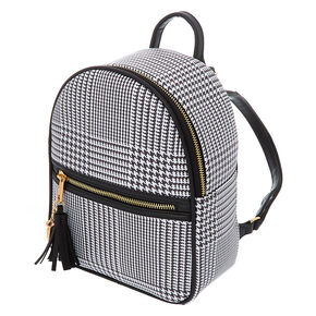 Glen Plaid Midi Backpack - Black,