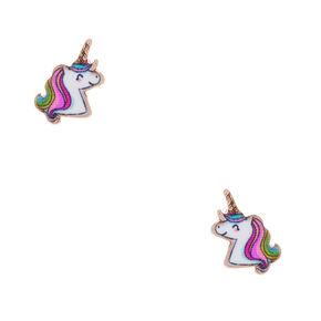 18kt Rose Gold Plated Miss Glitter the Unicorn Stud Earrings,
