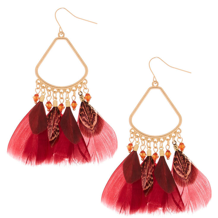 "3"" Feather Chandelier Drop Earrings - Red,"