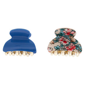 Floral Mini Hair Claws - Denim Blue, 2 Pack,