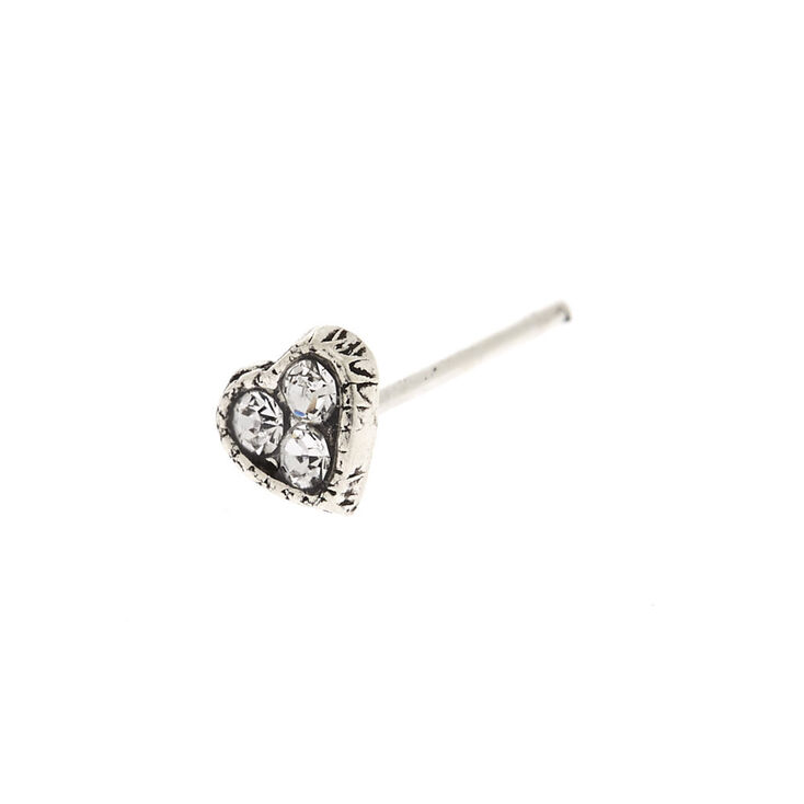 Silver 22G Crystal Heart Nose Stud,