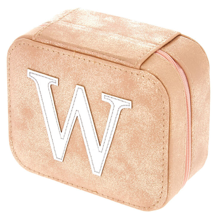 "Blush Pink ""W"" Initial Jewelry Case,"