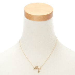 Gold Zodiac Pendant Necklace - Libra,