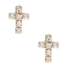 Faux Crystal Lined  Gold Tone Cross Stud Earrings,