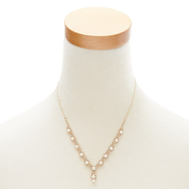 Gold Pearl & Crystal Jewelry Set,