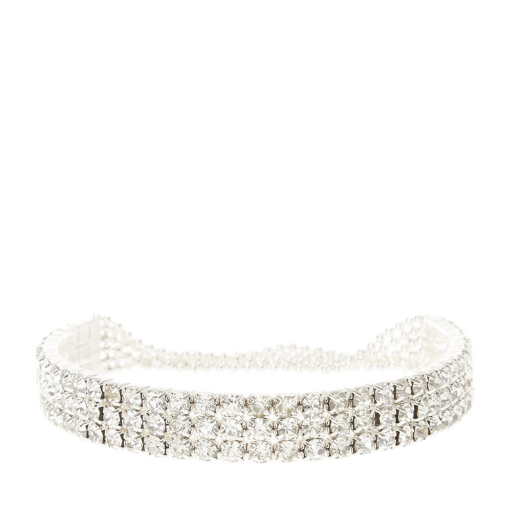 Crystal Rows & Pearl Stretch Bracelet,