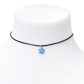 Blue Flower Cord Choker Necklace - Black,